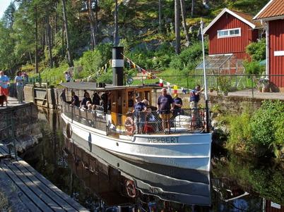 Bogserbåten HERBERT kom i nyskick till de gamla vattnen, efter grundlig renovering / Foto : Benny Ruus Dalslands Kanal.