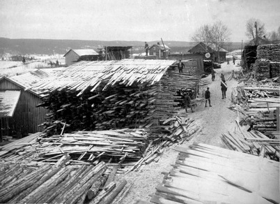 Virkesupplaget på Holmen i Östervallskog.