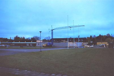 Byggnation av Konsumbutiken vid torget 1979.