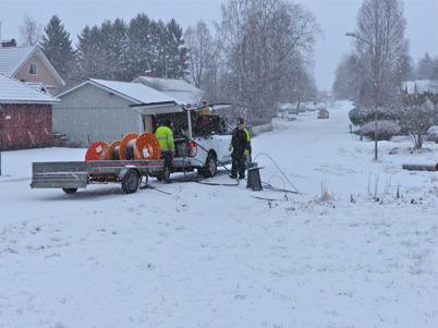 19 januari 2015 - Överallt i Töcksfors kunde man se att det nya fibernätet för bredband var på gång.