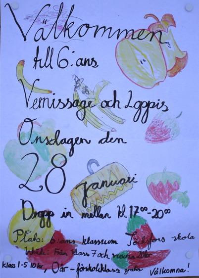 28 januari 2015 - Klass 6 vid Töcksfors skola hade vernissage och loppis.