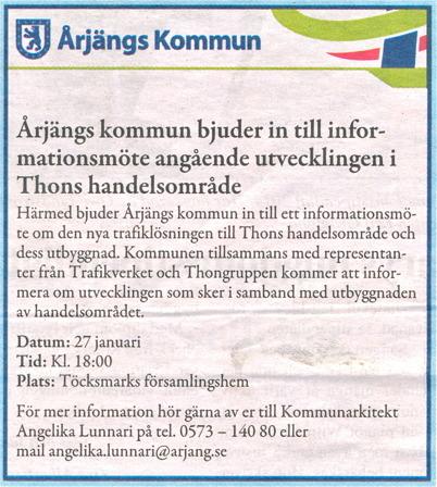 27 januari 2015 - Kommunen bjöd in till informationsmöte om nya väganslutningen till E18 vid Älverud.