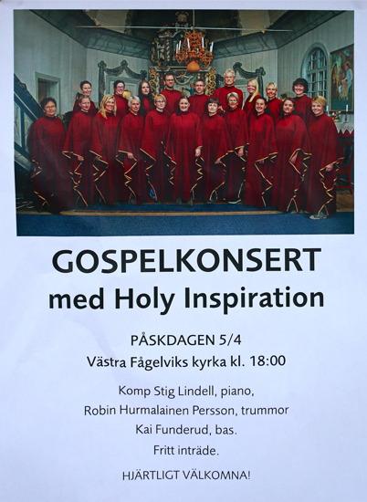 5 april 2015 - Och så var det Gospelskonsert i Västra Fågelviks kyrka.