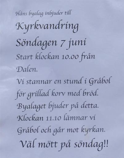 7 juni 2015 - Och så var det traditionell kyrkvandring från Dalen till Töcksmarks kyrka.