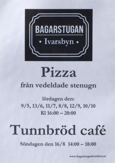 9 maj 2015 - Bagarstugan annonserade kommande Pizzaträffar.