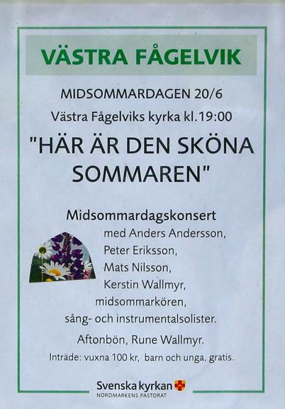 20 juni 2015 - Och midsommarkonsert i Västra Fågelsviks kyrka.