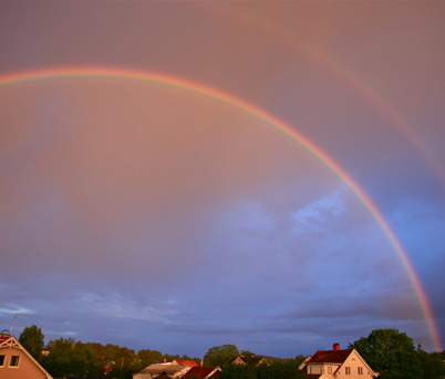 25 juni 2015 - En dubbel regnbåge kunde beskådas på himlen över Töcksfors.