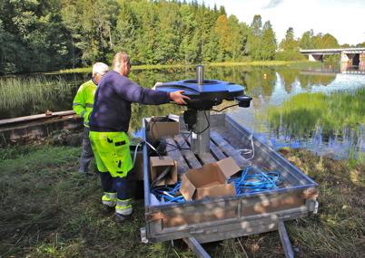 28 augusti 2015 - I Töcksfors sjösatte kommunen den nya fontänen i kanalen.