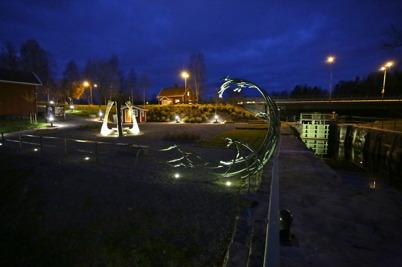 29 oktober 2015 - Och så kunde man se Kanalparken i kvällsbelysning.