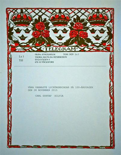 Telegram från Kungen och Drottningen.
