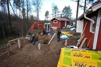 13 december 2016 - Arbetet med byggnation av båtklubbens kluggstuga tog fart.