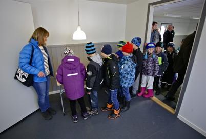 Bland besökarna fanns många  skolbarn.
