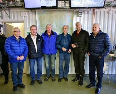 Brandkårsveteranerna Agnar (på Shell) Aronsson, Johnny (på Shell) Jörgensson, Sigvard Sjöstedt, Bo Danielsson, Kenneth Gustafsson och Roy Ringsby kom till invigningen av nya brandstationen.