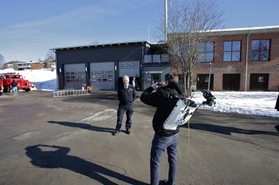 Reportern från P4 Värmland ville ha en bild av räddningschefen.