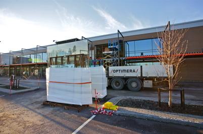 7 december 2015 - Byggnation av entrén till nya RUSTA-butiken.
