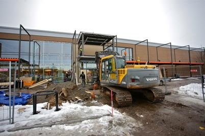 26 januari 2016 - Byggnation av entrén till nya RUSTA-butiken.