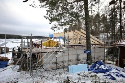 9 januari 2017 - I Sandviken gick arbetet vidare på nya klubbstugan.