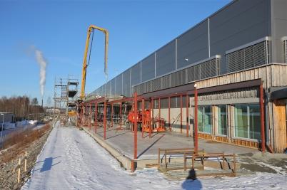 14 februari 2017 - Stålkonstruktionen till Flexit´s nya kontor monterades.