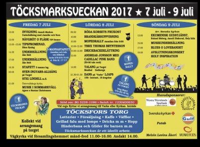 15 juni 2017 - Programmet för årets Töcksmarksvecka annonserades.