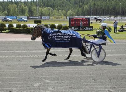15 juli 2017 - Årjängs Lilla Sprinterlopp vanns av Allgunnens Face med Alicia Larsson i sulkyn.
