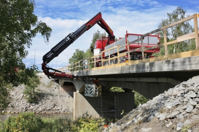 15 augusti 2017 - Reparationen av E18-bron vid Turistgården pågick.