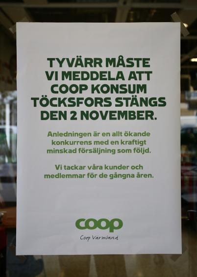 21 september 2017 - Så kom plötsligt beskedet att Konsum vid torget skulle stängas.