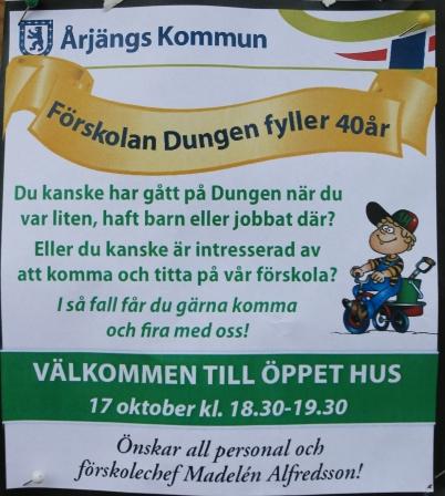 17 oktober 2017 - Förskolan Dungen firade 40 år med öppet hus.
