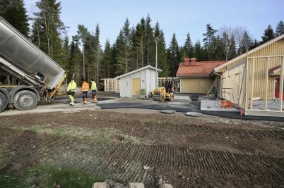 30 oktober 2017 - Arbetet med utbyggnad av förskolan Junibacken fortsatte.