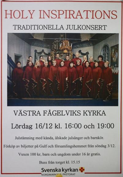 16 december 2017 - Holy Inspiration gav Julkonsert i Västra Fågelviks kyrka.