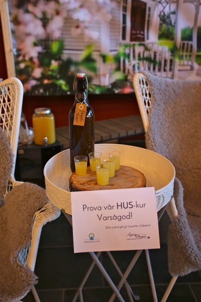 Hos Årjängsstugan kunde man prova en lokalproducerad Hus-kur, en frisk dryck med spets.