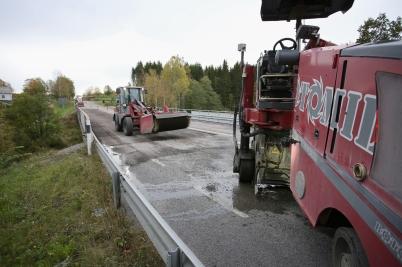 4 oktober 2017 - Fräsning av asfalten innan ny asfalt läggs.