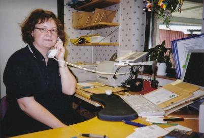 Åsa Pettersson, sista arbetsdagen på Folktandvården i Töcksfors 2002.