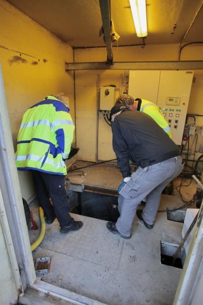Pumpgropen i gamla pumpstationen tömdes.