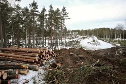 25 januari 2018 - Vid Kölen sportcenter påbörjades arbetet med ny anläggnings-väg till Högås vindkraftspark.