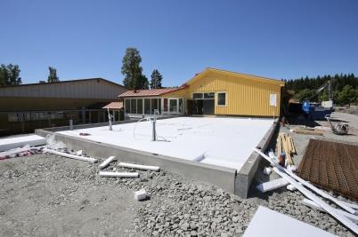 2 juli 2018 - Arbetet med om- och tillbyggnad av Töcksfors skola fortskred.