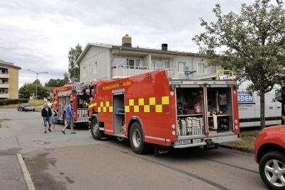 7 juli 2018 - Töcksmarksveckan 40-år - Töcksfors räddningsrtjänst visade sina fordon och barnen fick åka brandbil.
