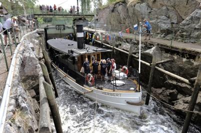 22 juli 2018 - I samband med Dalslands Kanals 150-års jubileum kom bogser-båten Herbert på återbesök till gamla hemmavatten.