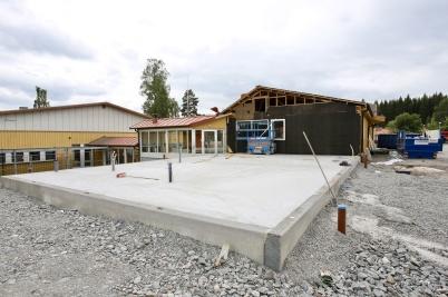 7 augusti 2018 - Om- och tillbyggnaden av skolan hade kommit igång igen efter semestern.