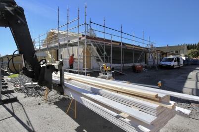 24 september 2018 - Byggarbetet vid Töcksfors skola fortskred.