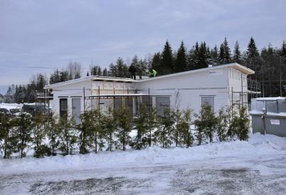 10 januari 2019 - Vid gränsen forsatte bygget av Logent:s speditionsbyggnad.