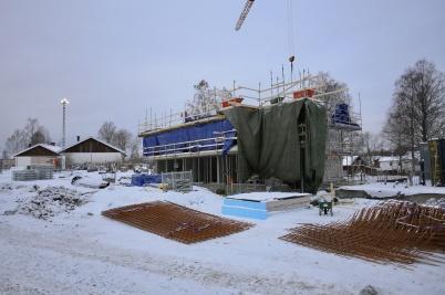 15 januari 2019 - På Solängen pågick gjutning av väggar och valv för nya hyreshusen.