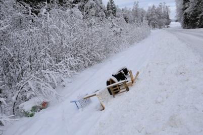 5 februari 2019 - Någon tyckte att diket vid Torsviken var en lämplig plats att dumpa möbler och annat skräp.