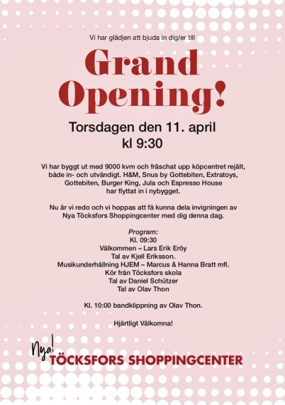 11 april 2019 - Så var det dags att inviga Nya Töcksfors shoppingcenter.