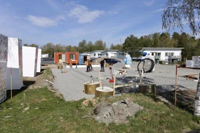 30 april 2019 - Och vid Slussen lade man grunden till nya hyreshuset.