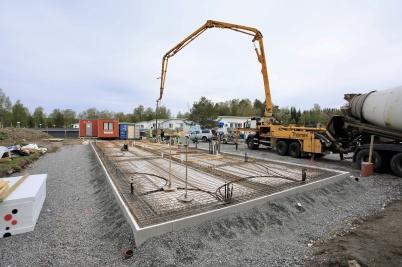 14 maj 2019 - Vid Slussen var grunden för nya hyreshuset klar för gjutning.
