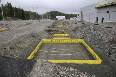 16 augusti 2019 - Vid gränsen började man bygga Tullens nya kontrollplats.