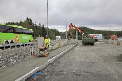 9 september 2019 - Och vid tullstations-bygget skapades nya kontrollplatsen.
