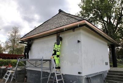 26 september 2019 - Arbetet med renovering av kapellet fortsatte.