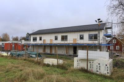 21 oktober 2019 - Vid Slussen startade arbetet med hyreshusets fasad.