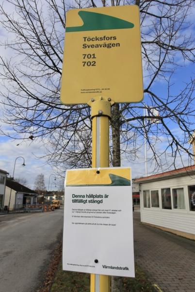 25 oktober 2019 - Värmlandstrafik stängde tillfälligt hållplatserna i Töcksfors centrum, p g a arbetet med nya vattenledningen.